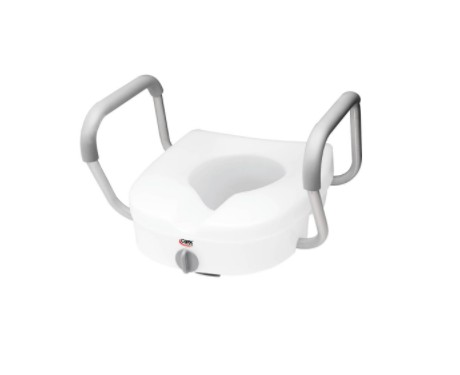Carex E-Z Lock Raised Toilet Seat with Adjustable Armrests