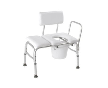 Carex Deluxe Padded Transfer Bench with Opening and Bucket