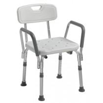 Bath bench with backrest and armrests