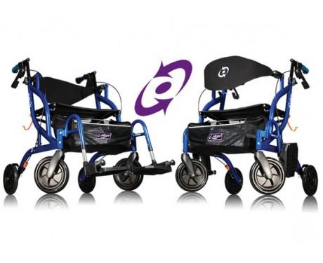 Combiné fauteuil de transport et ambulateur à pliage latéral, Airgo® Fusion™ Bleu pacifique